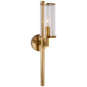 Liaison Single Sconce in Antique-Burnished Brass with Clear Glass