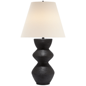 Utopia Table Lamp in Aged Iron with Linen Shade