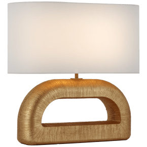 Utopia Combed Console Lamp in Gild with Linen Shade