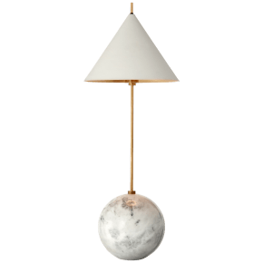 Cleo Orb Base Accent Lamp in Antique-Burnished Brass with Antique White Shade