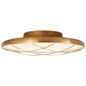 """Dot 13"""" Caged Flush Mount in Natural Brass"""