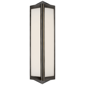 Geneva Small Sconce in Bronze with White Glass