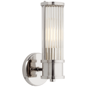 Allen Single Sconce in Polished Nickel and Glass Rods