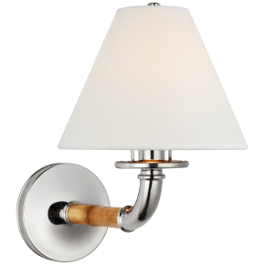Dalfern Medium Single Sconce in Waxed Bamboo and Polished Nickel with White Parchment Shade