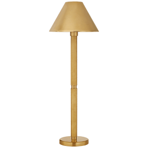 Barrett Knurled Buffet Lamp in Natural Brass with Natural Brass Shade