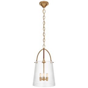 Julian Medium Lantern in Natural Brass and Saddle Leather with Clear Glass