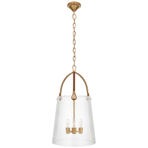Julian Large Lantern in Natural Brass and Saddle Leather with Clear Glass