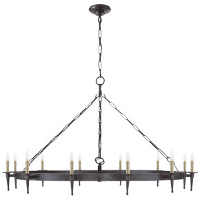 Branson Large One-Tier Ring Torch Chandelier in Aged Iron