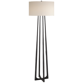 Scala Large Hand-Forged Floor Lamp in Aged Iron with Natural Percale Shade