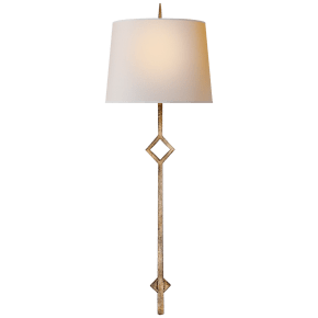 Cranston Large Sconce in Gilded Iron with Natural Paper Shade