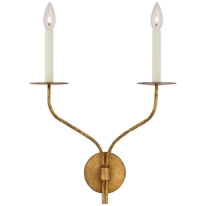 Belfair Large Double Sconce in Gilded Iron