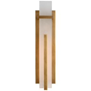 Malik Large Sconce in Hand-Rubbed Antique Brass with Alabaster