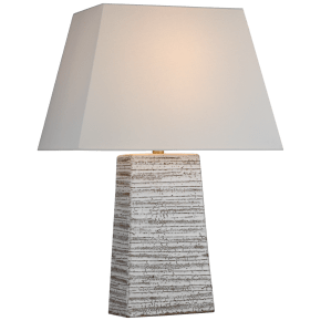 Gates Medium Rectangle Table Lamp in Malt White Dust with Linen Shade