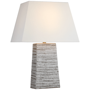 Gates Medium Rectangle Table Lamp in Malt White Dust with Linen Shade