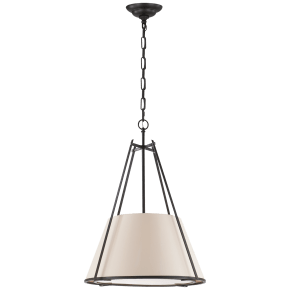 Aspen Large Conical Hanging Shade in Black Rust with Natural Paper Shade