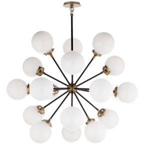 Bistro Medium Round Chandelier in Hand-Rubbed Antique Brass and Black with White Glass