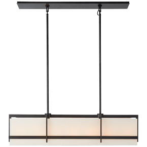 Milo Large Linear Pendant in Aged Iron with Linen Shade