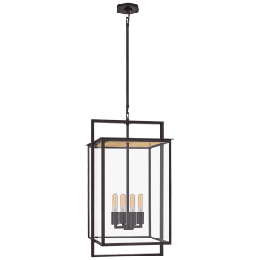Halle Medium Hanging Lantern in Aged Iron with Clear Glass