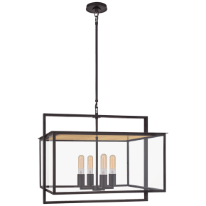 Halle Wide Hanging Lantern in Aged Iron with Clear Glass