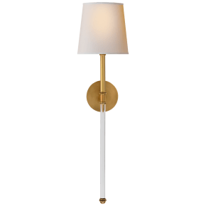 Camille Large Tail Sconce in Hand-Rubbed Antique Brass with Natural Paper Shade