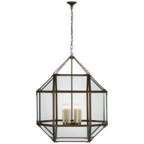 Morris Grande Lantern in Antique Zinc with Clear Glass