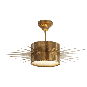 Soleil Large Semi-Flush in Hand-Rubbed Antique Brass with Frosted Glass