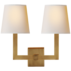 Square Tube Double Sconce in Hand-Rubbed Antique Brass with Natural Paper Shades