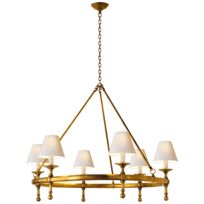 Classic Ring Chandelier in Hand-Rubbed Antique Brass with Natural Paper Shades