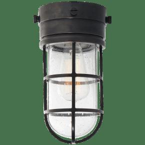 Marine Indoor / Flush Mount Light in Bronze with Seeded Glass