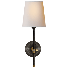 Bryant Sconce in Bronze and Hand-Rubbed Antique Brass with Natural Paper Shade