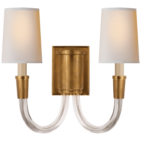 Vivian Double Sconce in Hand-Rubbed Antique Brass with Natural Paper Shades