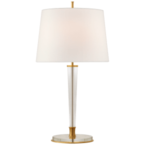Lyra Large Table Lamp in Hand-Rubbed Antique Brass and Crystal with Linen Shade