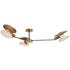 Osiris Large Asymmetric Semi-Flush Mount in Bronze and HAB with Linen Diffusers