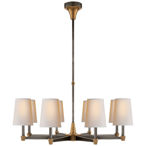 Caron Large Chandelier in Bronze with Hand-Rubbed Antique Brass accents with Natural Paper Shades