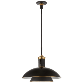 Whitman Medium Pendant in Bronze and Hand-Rubbed Antique Brass with Brass Trimmed Bronze Shade