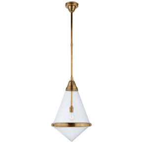 Gale Large Pendant in Hand-Rubbed Antique Brass with Seeded Glass
