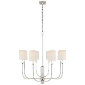 Hulton Large Chandelier in Polished Nickel with Linen Shades