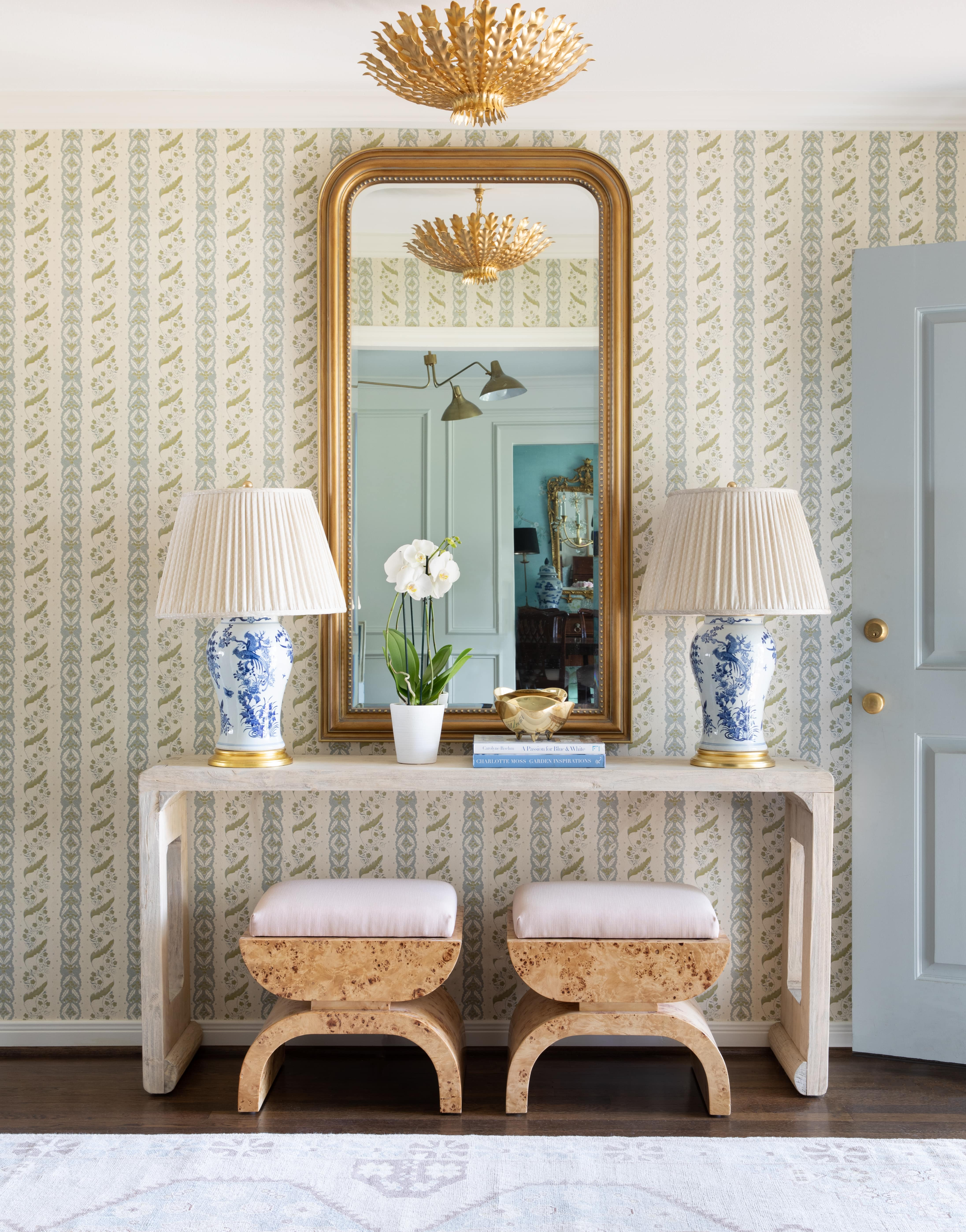 Blythe Medium Table Lamp by Ralph Lauren, Hampton Small Chandelier by AERIN, Charlton Large Triple Arm Chandelier by AERIN