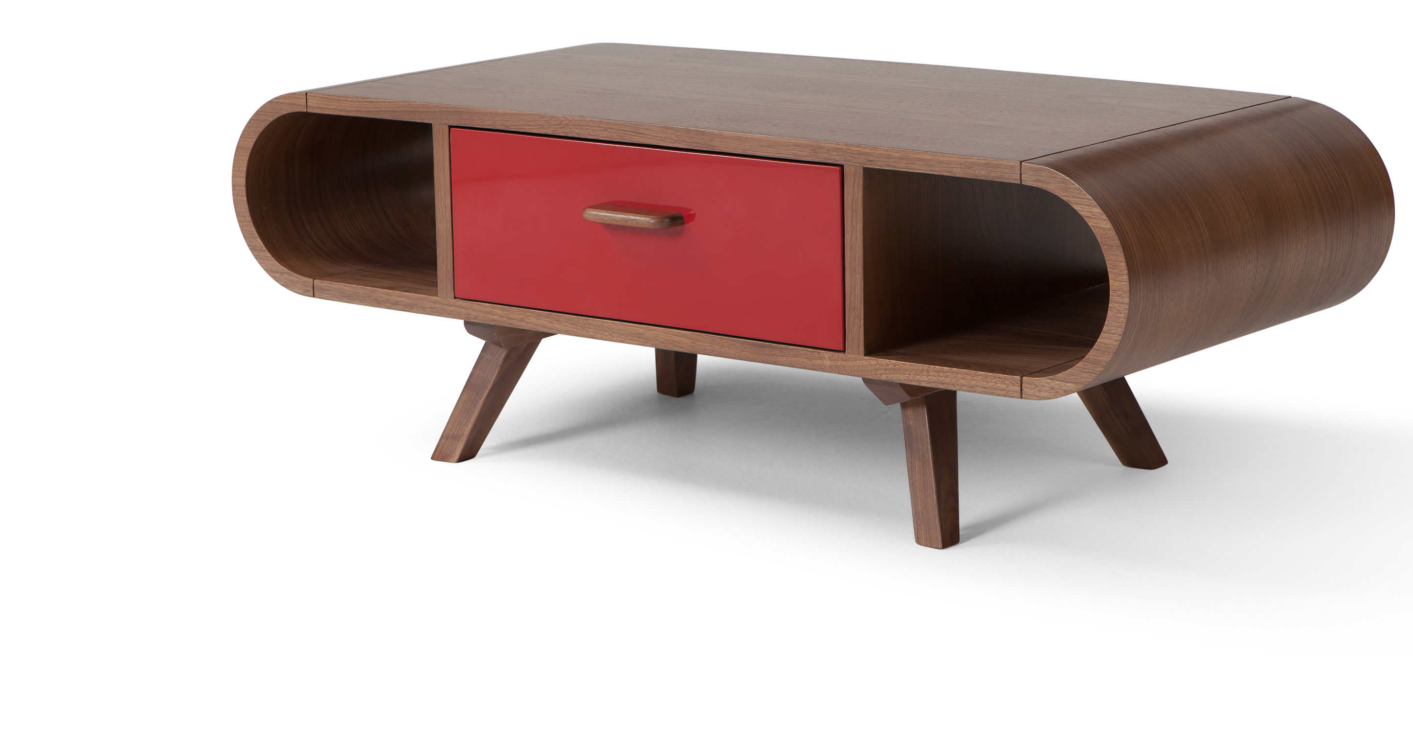 fonteyn walnut and red coffee table. Black Bedroom Furniture Sets. Home Design Ideas