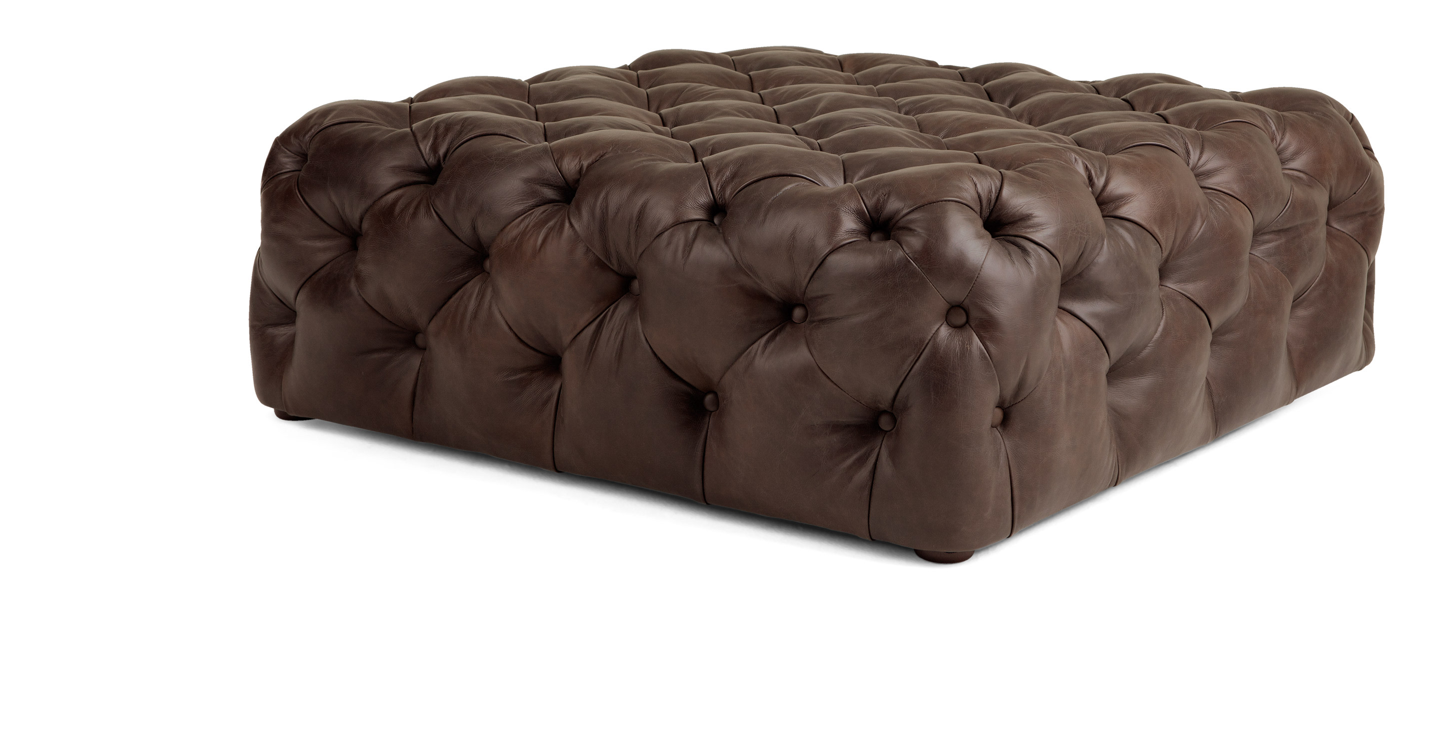 scott large square ottoman in brown premium leather. Black Bedroom Furniture Sets. Home Design Ideas