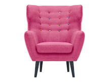 Kubrick Wing Back Chair In Candy Pink With Multi Colour