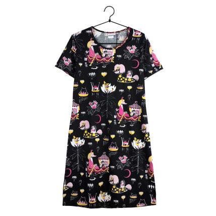 Moomin Friendship Nightgown Short-sleeve black