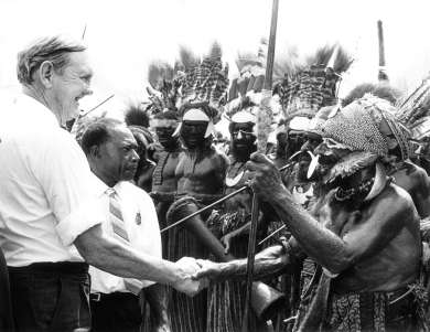 Prime Minister John Gorton on a trip to Papua New Guinea, 1970