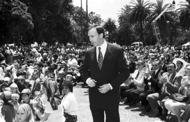 Prime Minister Paul Keating delivers a speech in Redfern, Sydney on 10 December 1992