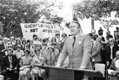 Prime Minister Malcolm Fraser giving a speech at Faulconbridge, NSW on 30 March 1979.