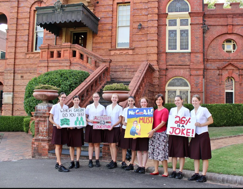 Handover of signs to MoAD curator Libby Stewart by students at Santa Sabina College on 11 March 2019. The students are (l-r) Clarissa Kalamvokis, Rachel Frecker, Catherine Ryan (who made the IKEA sign), Eloise Struthers, Clara Elias, Elissa Baker, Naomi Marta and Hannah Svoboda.