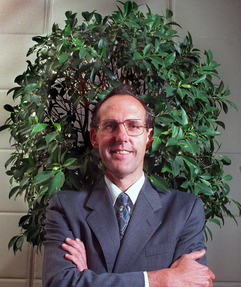 Dr Bob Brown campaigning for the Senate for the Australian Greens, 1995.