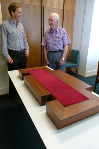 David Muir and Collections Management officer Alex Flannery inspect Mr Muir's 'Royal foot stool'