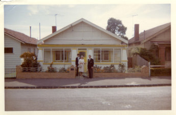 Barry York and his parents outside their 'castle' in Shamrock Street, West Brunswick, Melbourne in 1966.