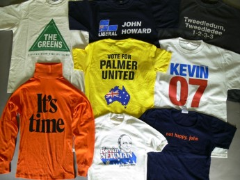 A group of political t-shirts from the Museum of Australian Democracy collection.